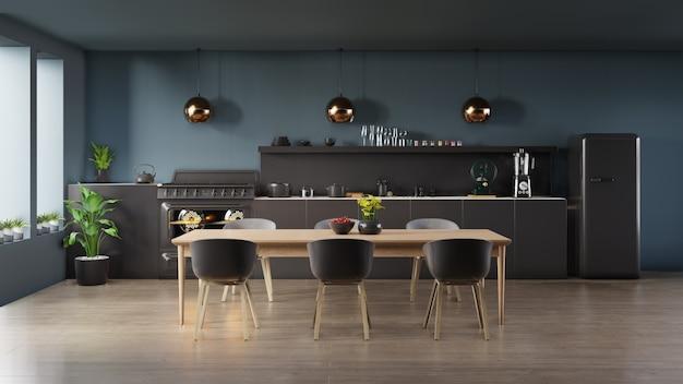 Темный кухонный интерьер
