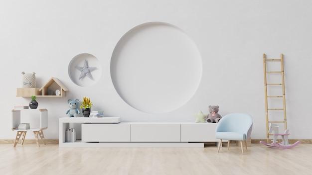 Детская комната с мольбертом, креслом и шкафом