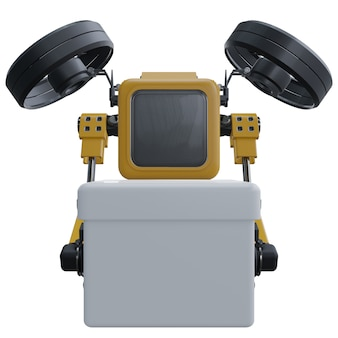 ロボットドローンは配達を供給します。輸送ロボットドローン。白い背景に分離