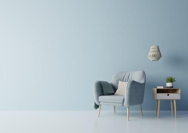 植物、棚、暗い青色の壁のランプとキャビネットインテリアモダンな部屋のテレビデザイン。