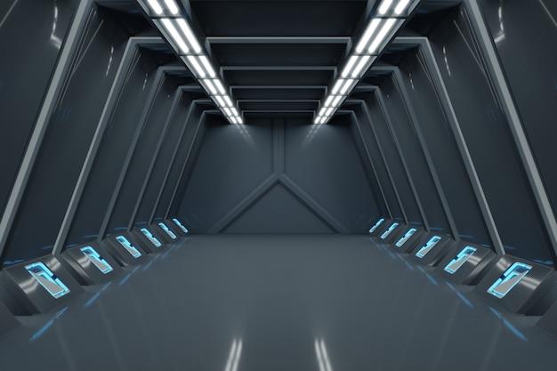 サイエンスバックグラウンドフィクションインテリアレンダリングサイエンスフィクションの宇宙船の廊下の青い光。