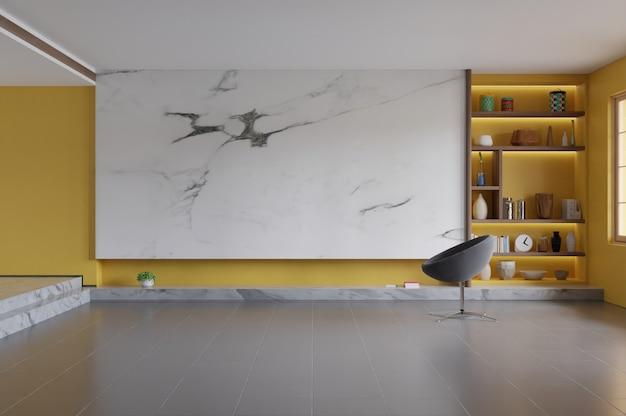 Современный интерьер гостиной с глухой стеной