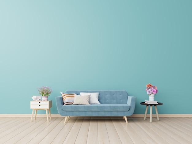 Современный интерьер живущей комнаты с софой и зелеными растениями, таблицей на голубой стене.