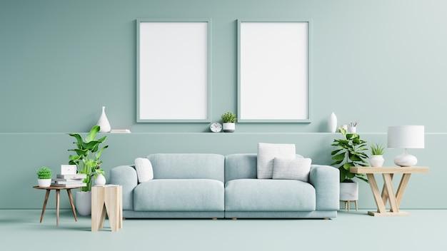 Внутренний плакат с вертикальной пустой деревянный каркас, стоящий на деревянном полу с диваном и кабинетом.