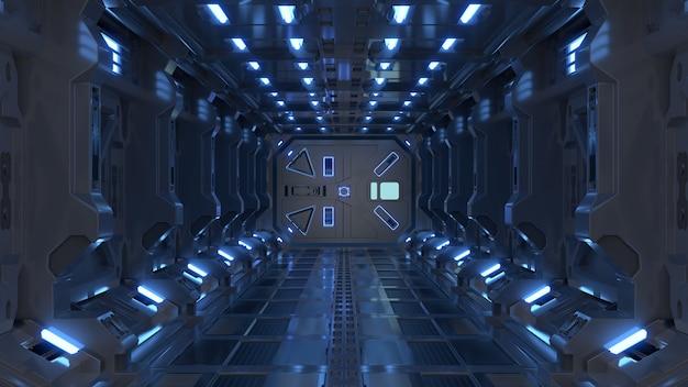 サイエンスフィクションインテリアレンダリングサイエンスフィクションの宇宙船の廊下の青い光。