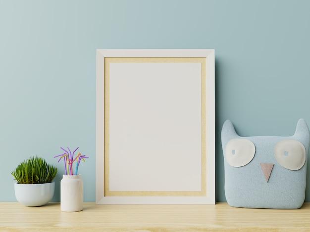 子供部屋のインテリアのポスター、空の青い壁のポスター。