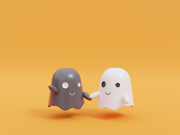 Милый маленький летающий призрак в хэллоуин.