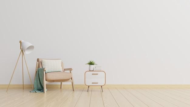 В интерьере есть кресло на пустой белой стене