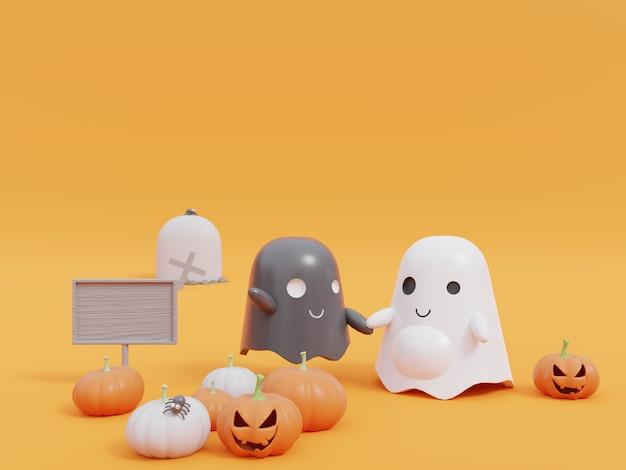 Хэллоуин тыква и милый маленький летающий призрак на желтом