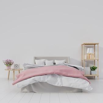 白い部屋のモダンなベッドルームインテリアは、棚に花とランプを持っています