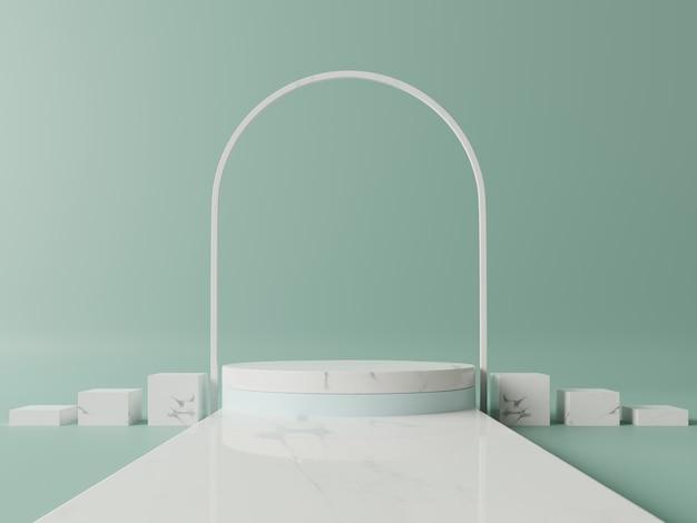 緑の背景を持つ受賞表彰台の抽象的な構成。