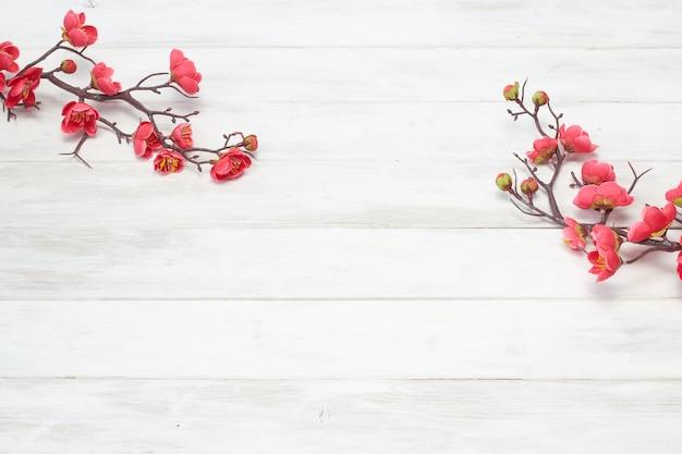 Цветение сливы на белой деревянной доске