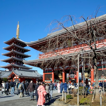 浅草寺の入り口で多くの旅行者