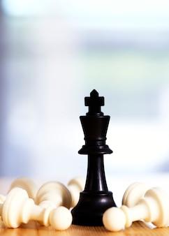 Рыцарь шахмат побеждает крупным планом