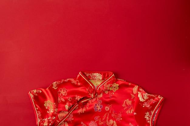 中国の新年赤い背景。フラットレイ