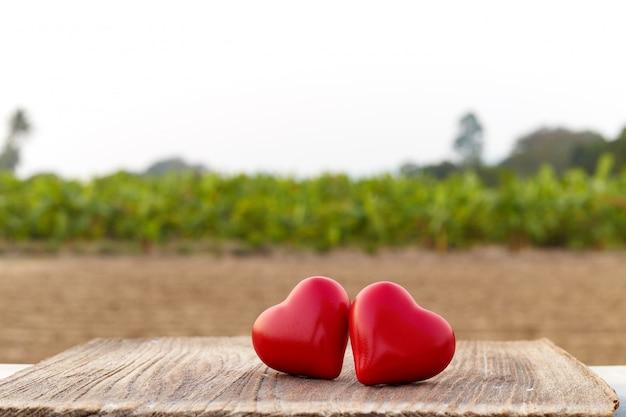 木の板に二つの心