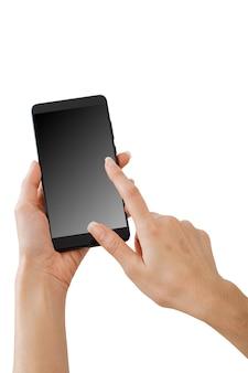 モックアップのスマートフォンを持っている手
