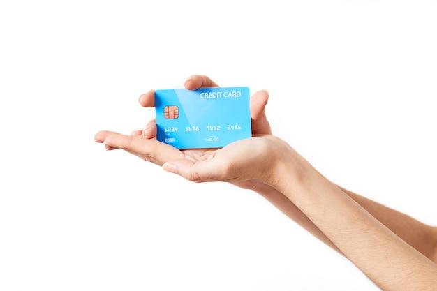 白の手のクレジットカード