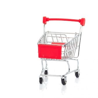 ミニチュアショッピングカートと白のバスケット