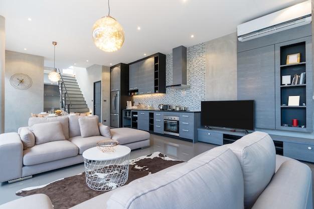 家のリビングルームのホームインテリアロフトデザイン