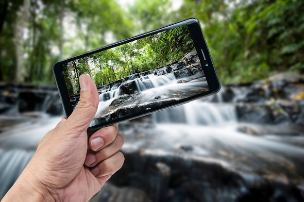 手、スマートフォン、風景、自然、背景