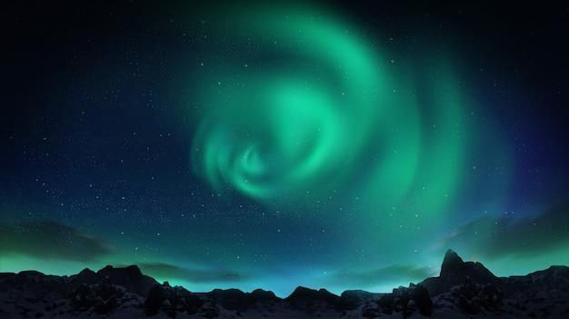Красивое зеленое и красное сияние танцует над холмами