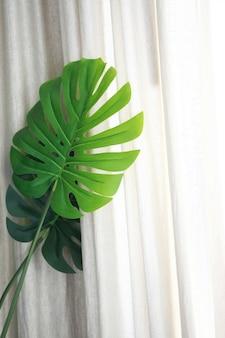 葉の装飾とカーテンの背景
