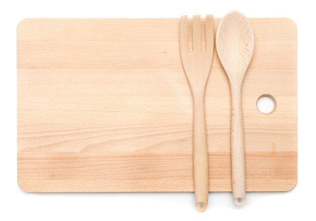 キッチン用品木製のスプーンとフォーク