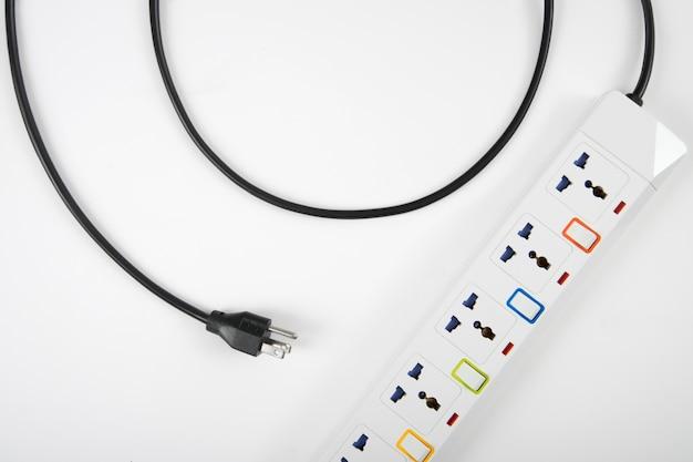 電源ストリップまたは延長ブロック、スイッチの上面図