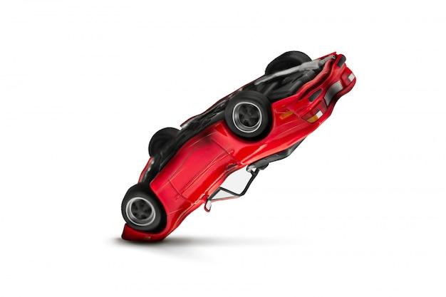 損傷のシーン - 輸送と交通事故の概念と赤い車の事故
