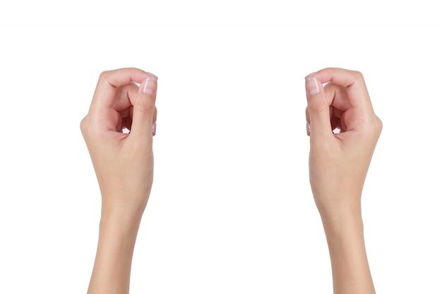 白で隔離される前面と背面の手側を持つ女性の空の手