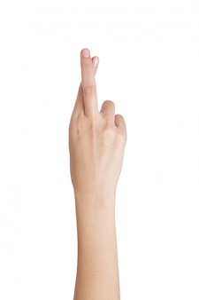 女性の手ジェスチャーの交差指白で隔離される裏側