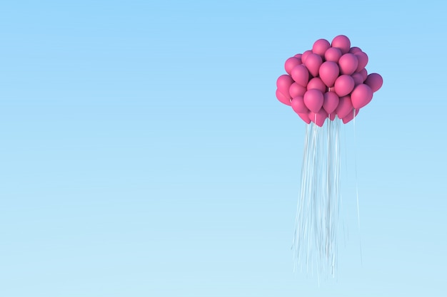 空にピンクの風船。