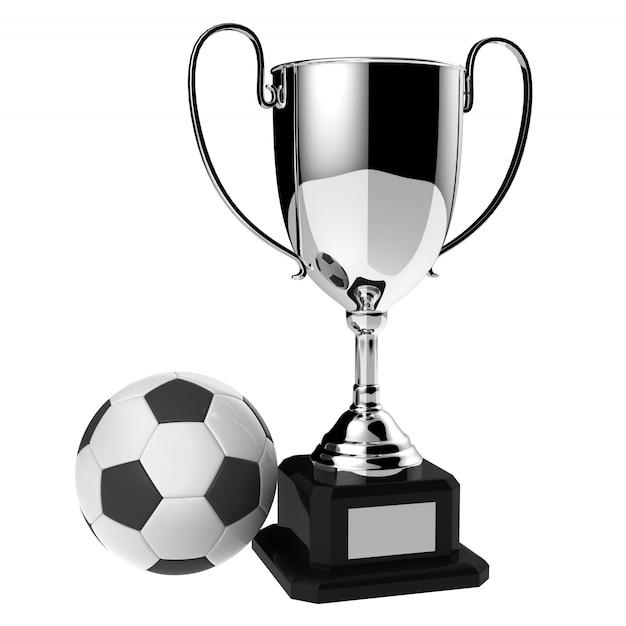 サッカー銀賞トロフィー白で分離