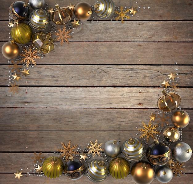 木枠の背景上のクリスマスの装飾