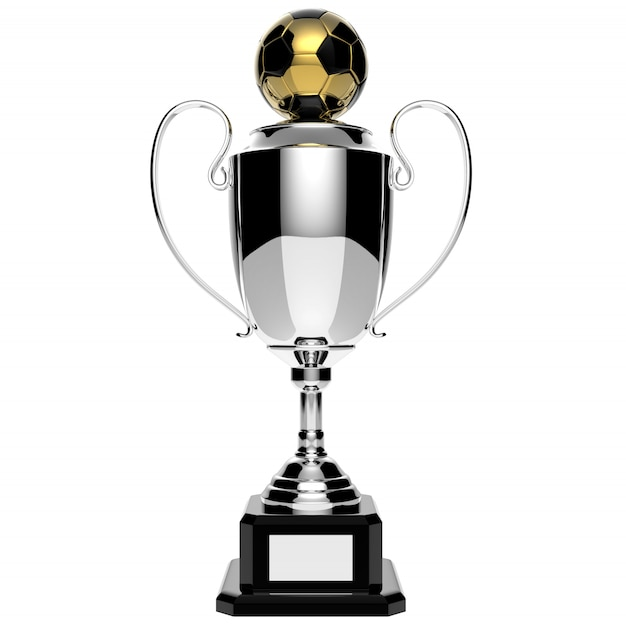 クリッピングパスを白で隔離されるサッカー銀賞トロフィー