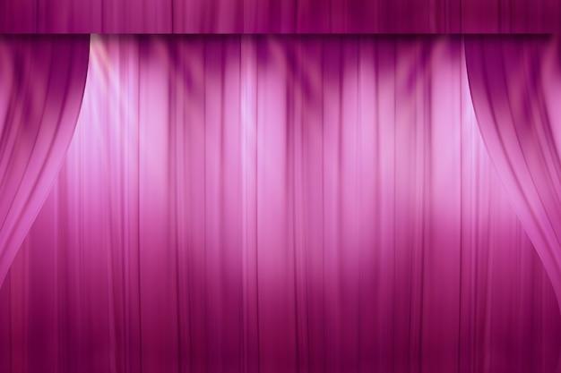 Затуманенное красный занавес на сцене в театре перед шоу