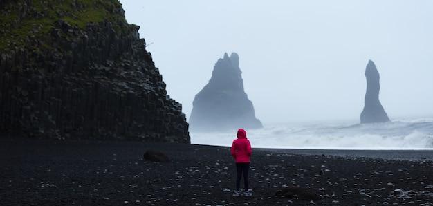 夏、アイスランド、旅行目的地の概念の黒い砂のビーチの上に立っているピンクのコートを着た女性