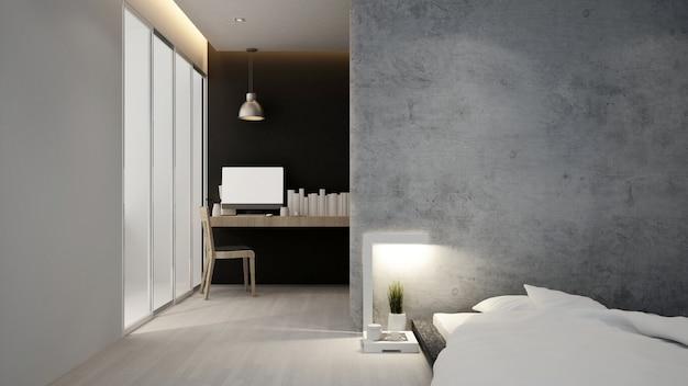Рабочее место и спальня отеля или квартиры, интерьер