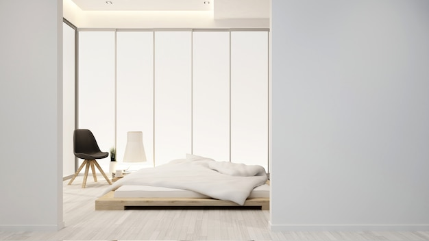 ホテルまたはアパートの寝室とリビングエリア-インテリアデザイン