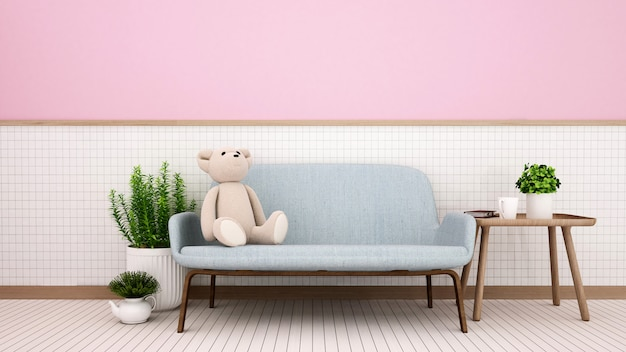 白いセラミック壁の家または子供部屋のリビングルーム