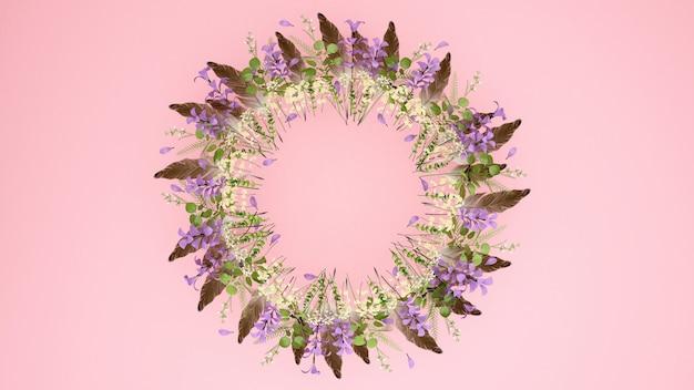 茶色の羽のピンクの花の花輪。花輪の花とメッセージを追加するスペース。