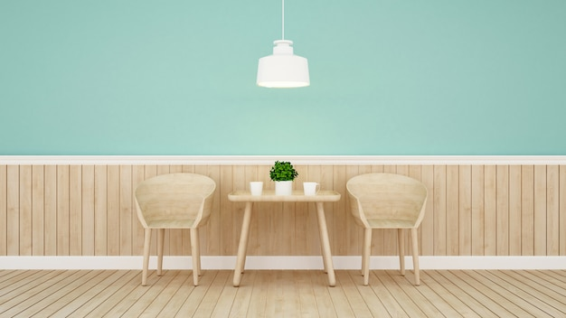 緑の壁のデザインのレストランやコーヒーショップ