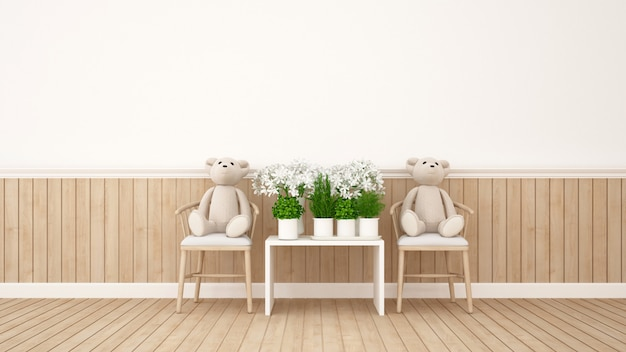 双子の熊と家や保育園の花