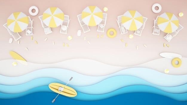 ビーチのビーチベッドと水遊び用具