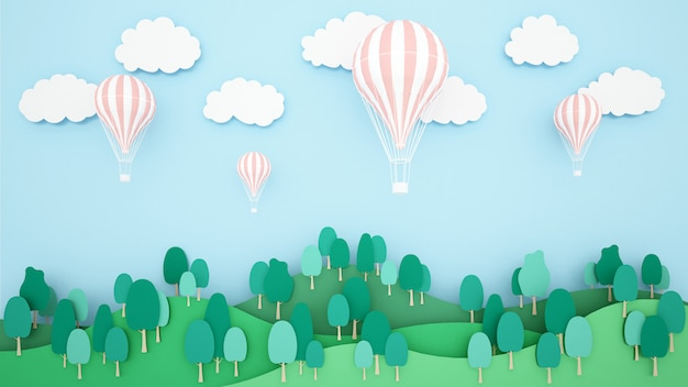 山と空の背景に熱気球のイラスト。気球国際祭りのためのアートワーク。