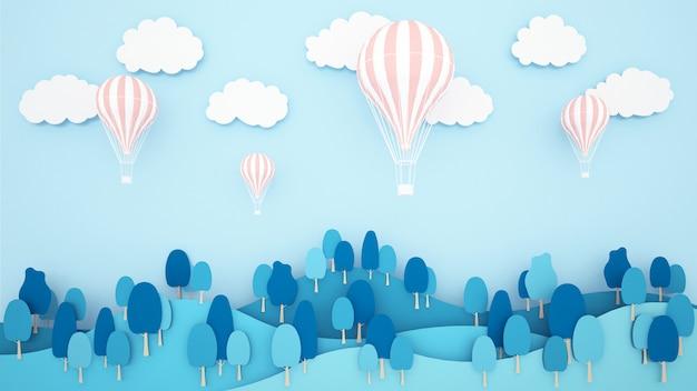 山と空の背景にピンクの風船。気球国際祭りのためのアートワーク。