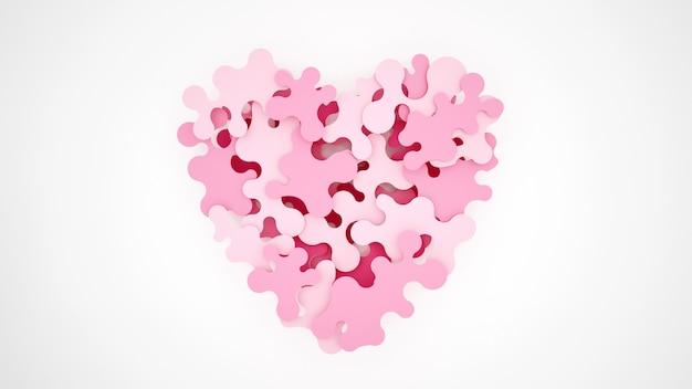 ピンクのジグソーパズルを組み合わせてハートを形作る