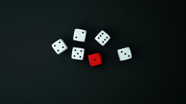 Красные и белые кости на черном полу. кости для азартных игр