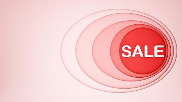 アートワークの背景に赤い円とピンクの楕円形